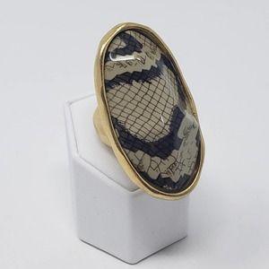 Kenneth Jay Lane Snake Print Matte Gold Tone Ring